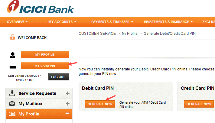 ICICI Debit Card Pin Generator