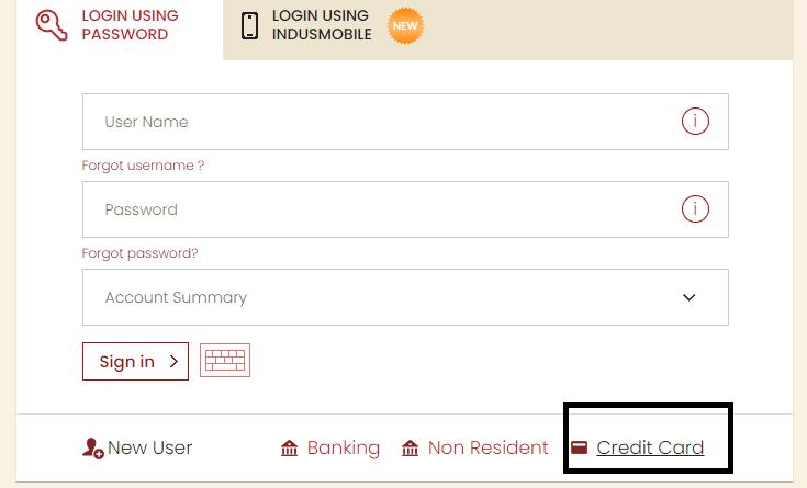 Indusind Bank Credit Card net banking