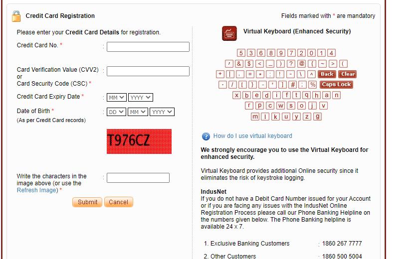 Indusind Bank Credit Card net banking registration