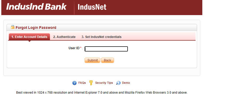 Indusind Bank Credit Card net banking forget password