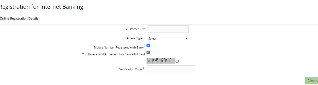 Andhra Bank Internet Banking registration