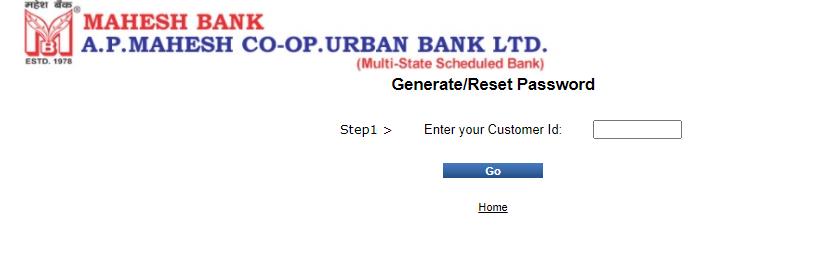 Mahesh bank internet banking forgot password