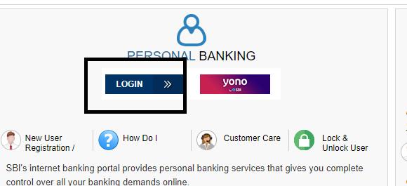 SBI Internet Banking Login button