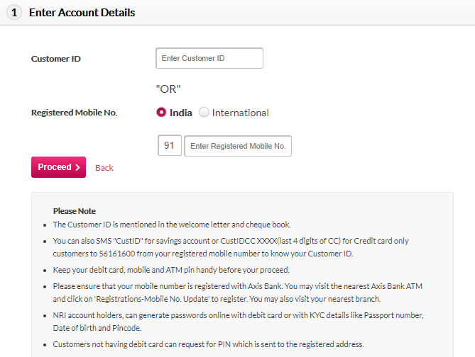 axis bank internet banking