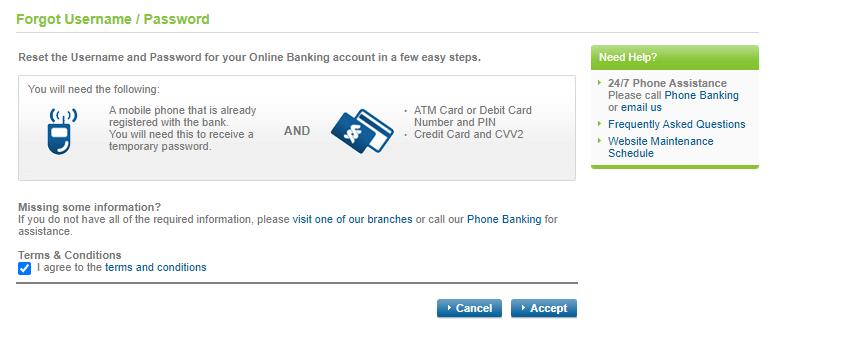 standard chartered online banking reset password