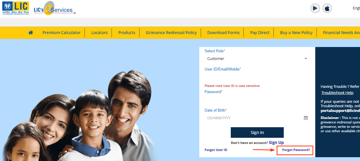Forget password LIC Customer Portal