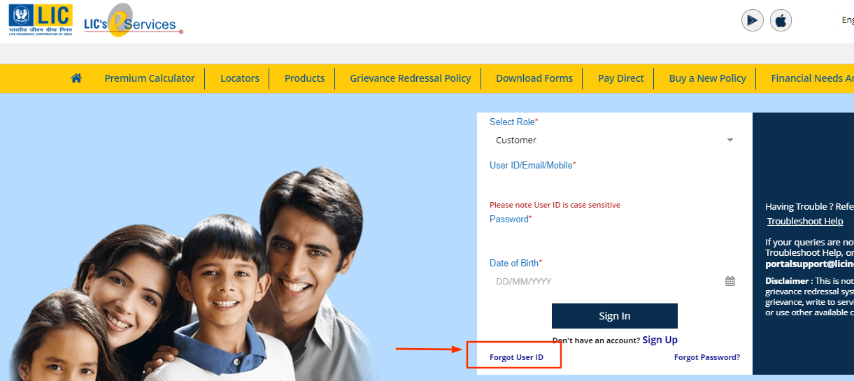 LIC Customer Portal user id