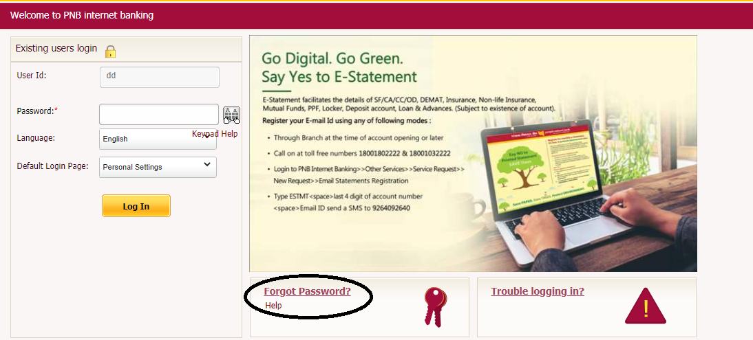 PNB net banking forget password