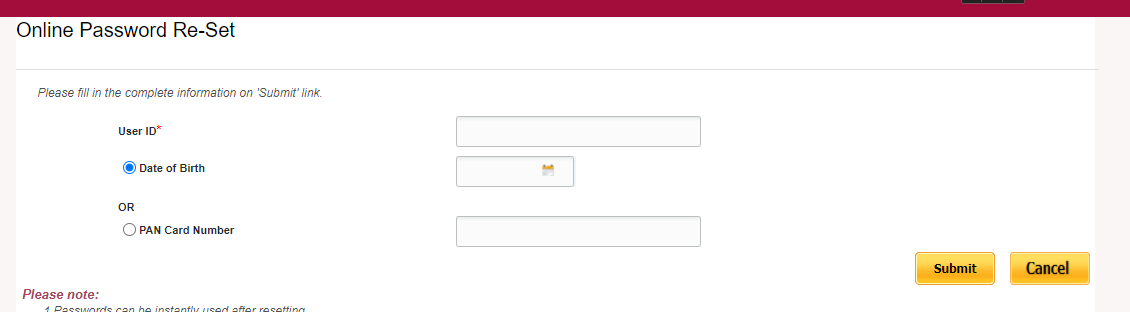 PNB net banking password