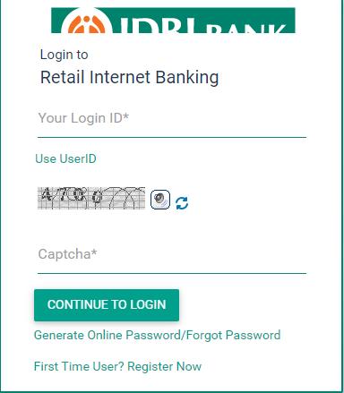 IDBI Bank Net Banking Registration