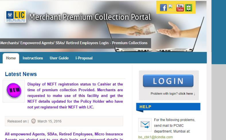 Login into LIC Merchant Portal